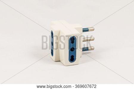 Three Way Eu Electric Plug Adaptor, Isolated On White Background