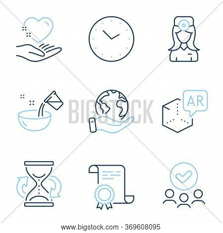 Augmented Reality, Hold Heart And Hourglass Line Icons Set. Diploma Certificate, Save Planet, Group