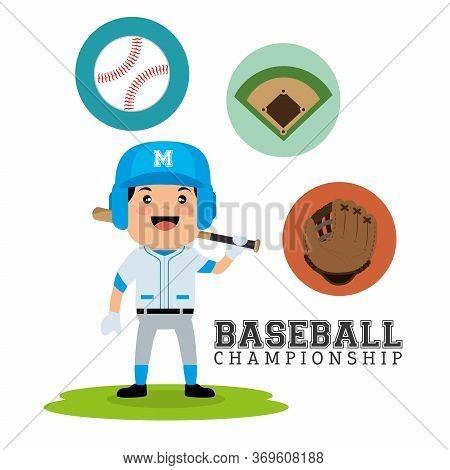 Baseball Championship Concept Player Bat Ball Glove And Field Design Vector Illustration Eps 10
