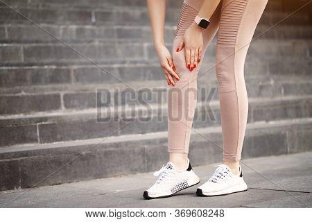 Close Up Beginner Runner Woman Standing On Asphalt Stone Road On City Street In Sportswear And Sneak