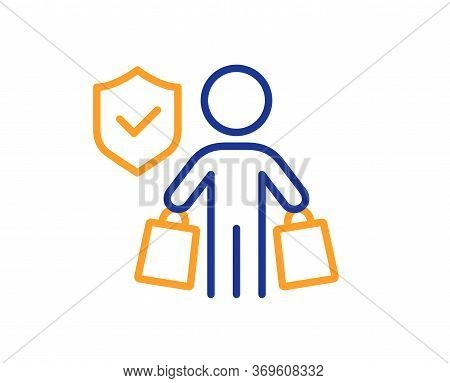 Buyer Insurance Hand Line Icon. Risk Coverage Sign. Shopping Protection Symbol. Colorful Thin Line O