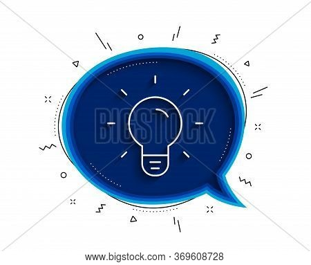 Light Bulb Line Icon. Chat Bubble With Shadow. Lamp Sign. Idea, Solution Or Thinking Symbol. Thin Li