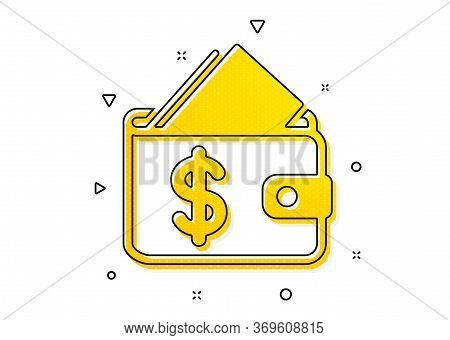 Affordability Sign. Wallet Icon. Cash Savings Symbol. Yellow Circles Pattern. Classic Wallet Icon. G