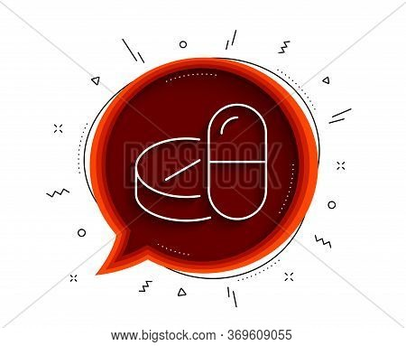 Medical Drugs Line Icon. Chat Bubble With Shadow. Medicine Pills Sign. Pharmacy Medication Symbol. T