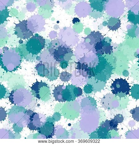 Graffiti Spray Transparent Stains Vector Seamless Wallpaper Pattern. Random Ink Splatter, Spray Blot