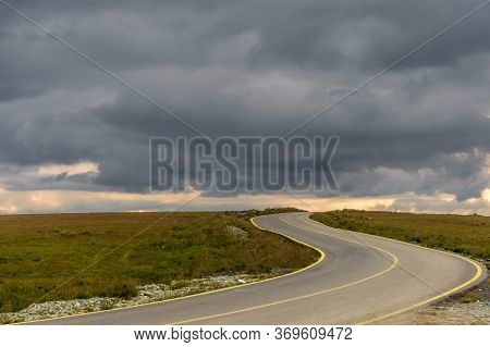 Beautiful Scenic View In A Rainy And Cloudy Day Over The Transalpina Road In Romania - The Highest M