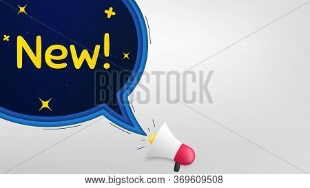 New Symbol. Megaphone Banner With Speech Bubble. Special Offer Sign. New Arrival. Loudspeaker With C