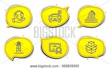 Roller Coaster Sign. Diploma Certificate, Save Planet Chat Bubbles. Packing Boxes, Lighthouse And Pa