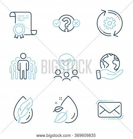 Hypoallergenic Tested, Group And Water Drop Line Icons Set. Diploma Certificate, Save Planet, Group
