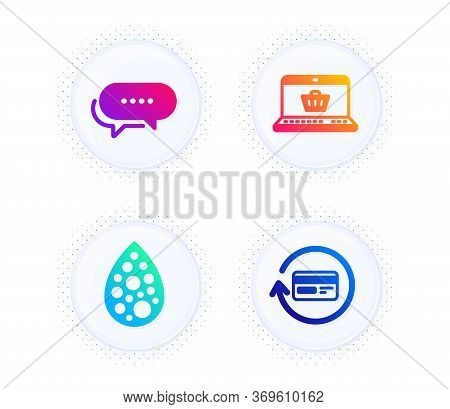 Online Shopping, Dots Message And Artificial Colors Icons Simple Set. Button With Halftone Dots. Ref