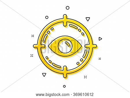 Oculist Clinic Sign. Eye Target Icon. Optometry Vision Symbol. Yellow Circles Pattern. Classic Eye T