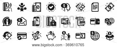 Update Credit Card, Contactless Payment And Piggy Bank Icons. Money Wallet Icons. Online Payment, Do
