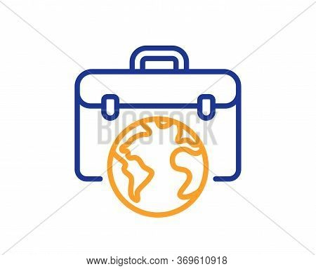 Global Business Line Icon. Businessman Case Sign. Internet Marketing Symbol. Colorful Thin Line Outl