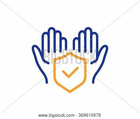 Insurance Hands Line Icon. Risk Coverage Sign. Policyholder Protection Symbol. Colorful Thin Line Ou
