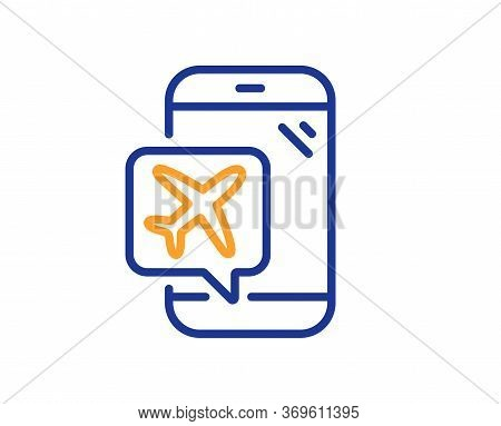 Flight Mode Line Icon. Airplane Mode Sign. Turn Device Offline Symbol. Colorful Thin Line Outline Co