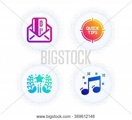 Ranking, Tips And Credit Card Icons Simple Set. Button With Halftone Dots. Musical Note Sign. Laurel