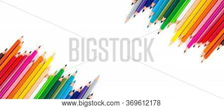 Multicolored Pencils Isolated On A White Background. Free Space For Text. Education Frame Concept.