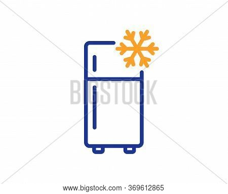 Single Chamber Refrigerator Line Icon. Fridge Sign. Freezer Storage Symbol. Colorful Thin Line Outli
