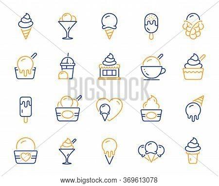 Ice Cream Line Icons. Vanilla Sundae, Frozen Yogurt, Bubble Waffle. Sweet Dessert Food, Milkshake Wi