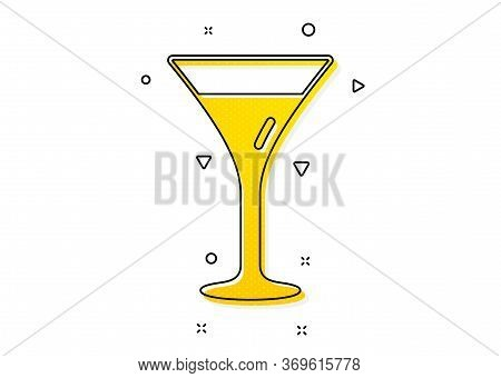 Wine Glass Sign. Martini Glass Icon. Yellow Circles Pattern. Classic Martini Glass Icon. Geometric E