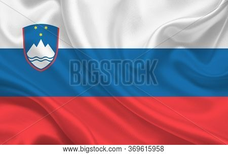 Slovenian Country Flag On Wavy Silk Fabric Background Panorama