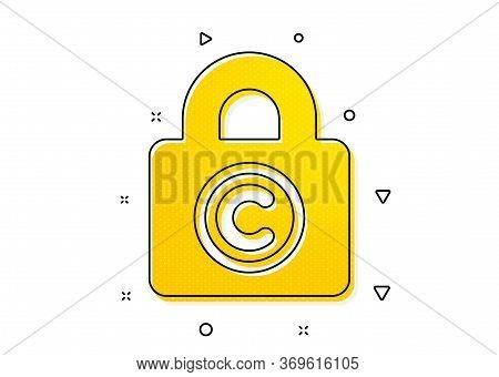 Copywriting Sign. Copyright Locker Icon. Private Information Symbol. Yellow Circles Pattern. Classic