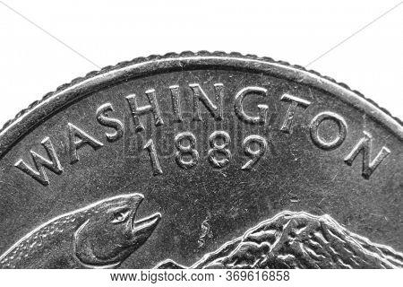 Washington quarter coin extreme close up shot