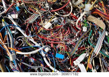 Used Colored Electric Wires Collected For Recycling Factory