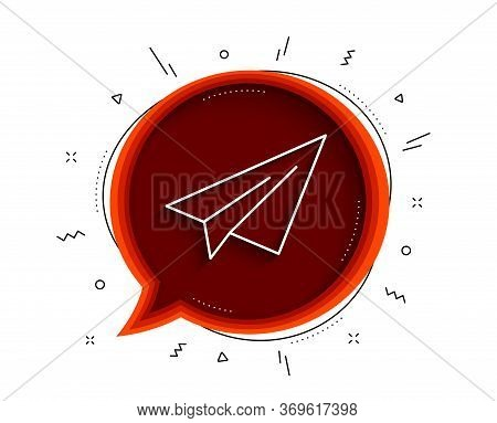 Paper Plane Line Icon. Chat Bubble With Shadow. Airplane Flight Transport Sign. Share Symbol. Thin L