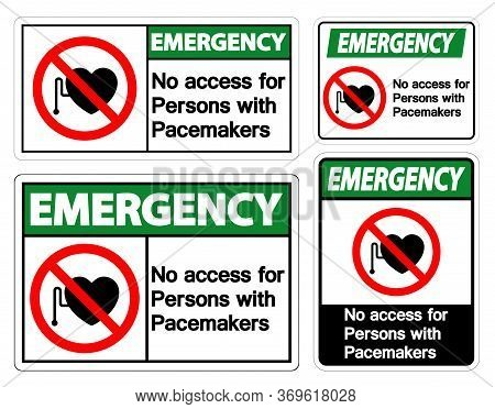 Emergency No Access For Persons With Pacemaker Symbol Sign On White Background