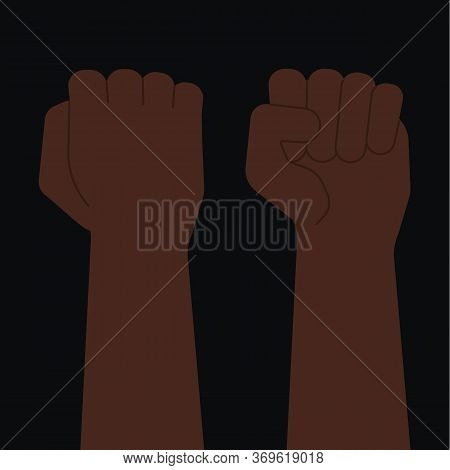 Afroamerican Black Fist Set In Front And Back, Raised Clenched Hand. Black Lives Matter, Anti-racism