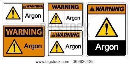 Warning Argon Symbol Sign Isolate On White Background,vector Illustration Eps.10