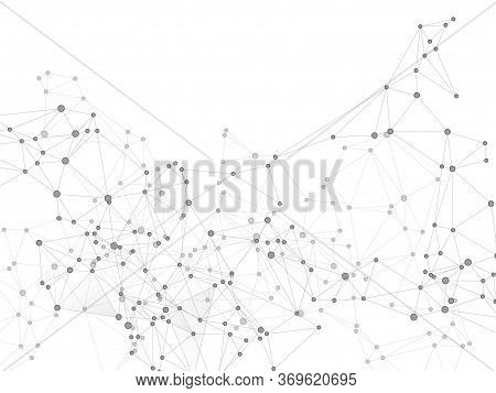Block Chain Global Network Technology Concept. Network Nodes Greyscale Plexus Background. Chemical F