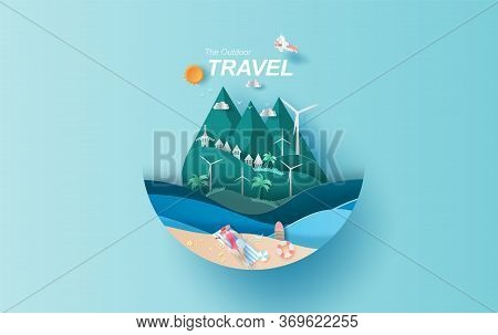 Illustration Of Travel In Holiday Vacation Summer Season Circle Concept,creative Summertime Lady Wom