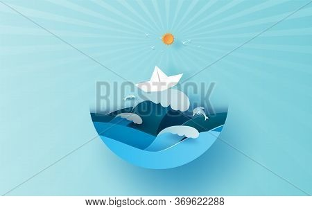 Illustration Of Travel In Holiday Summer Season Sunlight Circle Concept. Paper Cut Style.vacation Su