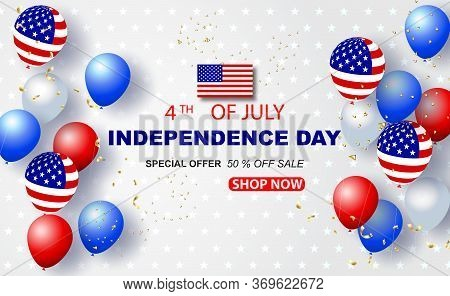 Balloons Of Usa American 4th Of July Background. Happy Independence Day Banner Holiday In United Sta