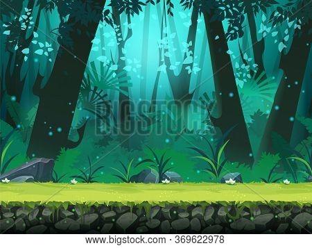 Vector Cartoon Horizontal Seamless Illustration Of Background Rainforest. For Design Game, Websites