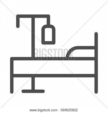Bed And Dropper Line Icon, Emergency Therapy Concept, Hospital Bed With Drop Counter Sign On White B