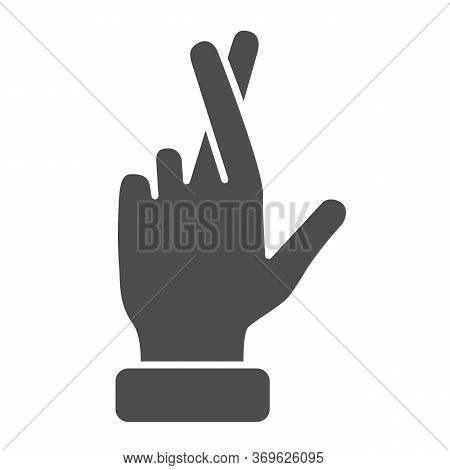 Promise Gesture Solid Icon, Gestures Concept, Hand With Crossed Fingers Sign On White Background, Ge