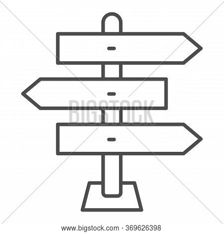 Wooden Arrow Signboards Thin Line Icon, Travel Concept, Wooden Way Direction Sign On White Backgroun