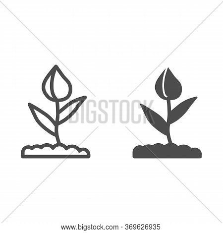 Flower Bud Line And Solid Icon, Floral Concept, Closed Tulip Bud With Leaves Sign On White Backgroun