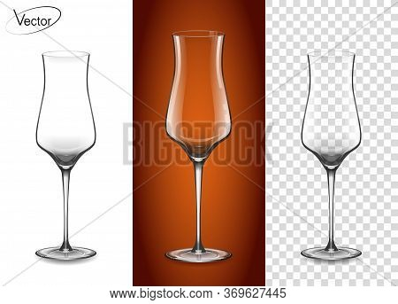 A Glass For Cognac And Armagnac. Empty Glass On A Transparent Background And On A Cognac Background.