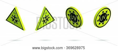 Set Of 3d Danger Signs On A Yellow Background, High Solar Activity. Increased Ultraviolet Radiation.