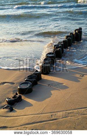 Breakwater At Rewal Beach On The Polish Baltic Coast