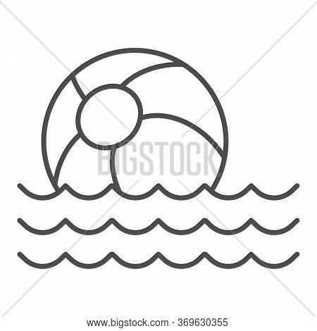 Beach Ball On Waves Thin Line Icon, Summer Concept, Toy Ball Floating On Water Sign On White Backgro