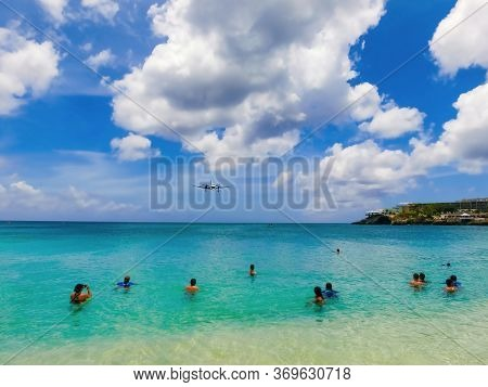 The Beach At Maho Bay Is One Of The Worlds Premier Planespotting Destinations. Airplanes Landing At