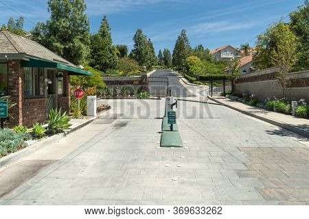 Entrance To A Gated Large-scale Weatlhy Residential Private Community, Mission Viejo, California, Us