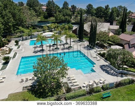 Aerial View Of Recreational Facilities With Pools In Private Residential Community In Mission Viejo,