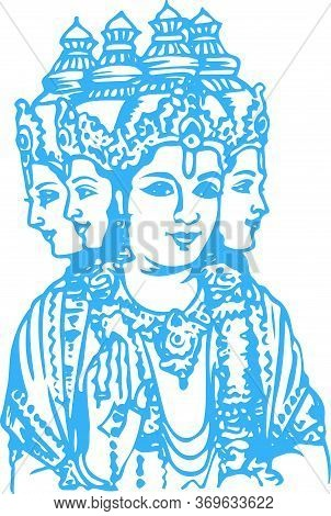 Drawing Or Sketch Of Four Faced Lord Brahma Outline Editable Vector Illustration
