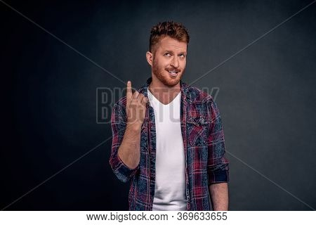 I Got It, Have Idea. Good-looking Mature European Guy With Bristle In Blue Checkered Shirt Raising I